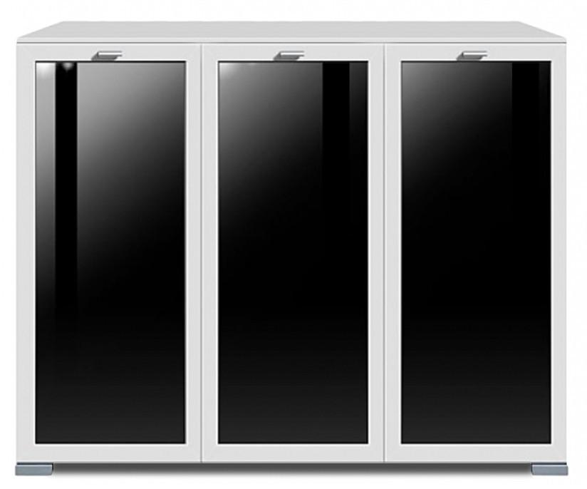 Komoda Gallery Plus 6 (bílá/sklo černé)