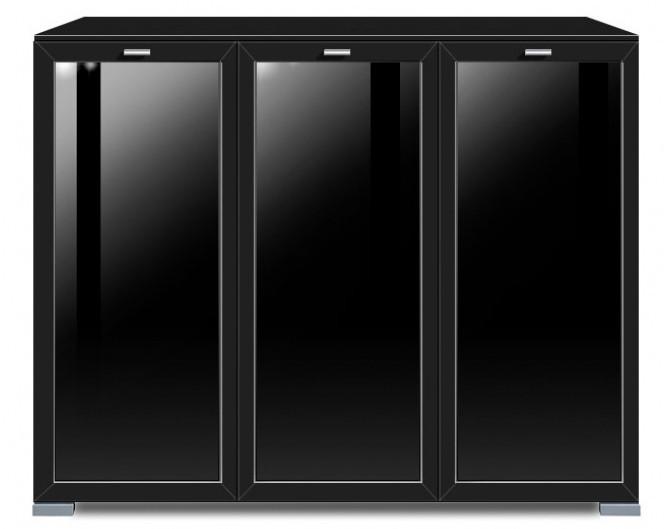 Komoda Gallery Plus 6 (černá/sklo černé)