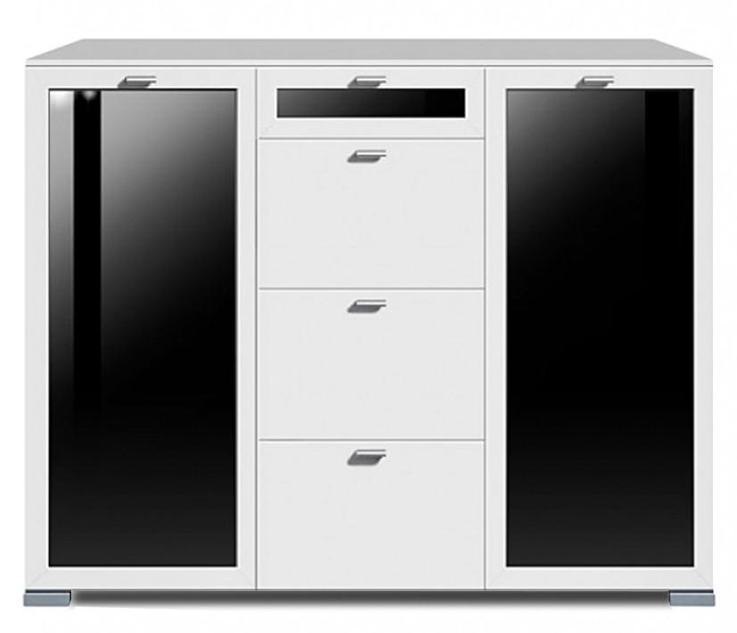 Komoda Gallery Plus 9 (bílá/sklo černé)