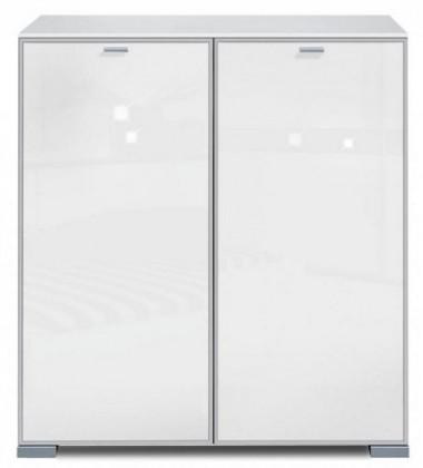 Komoda Gallery Super Plus 13 - Komoda (bílá/sklo číré bílé)