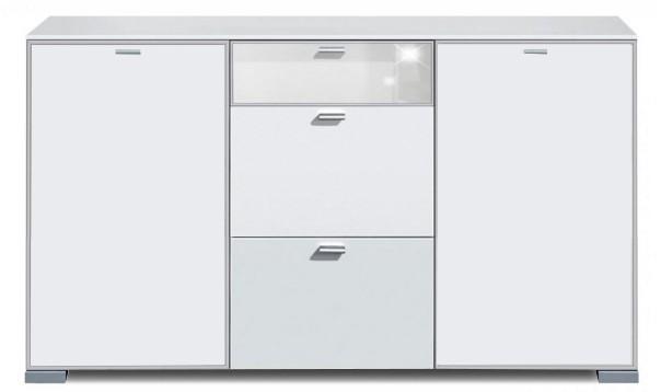 Komoda Gallery Super Plus 16 - Komoda (bílá/sklo číré bílé)