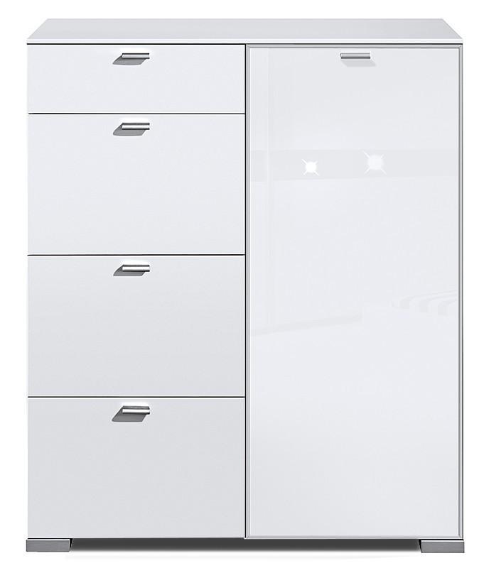 Komoda Gallery Super Plus 4 - Komoda (bílá/sklo číré bílé)