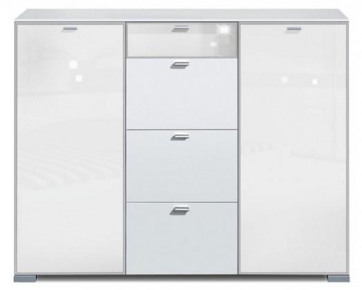 Komoda Gallery Super Plus 9 - Komoda (bílá/sklo číré bílé)