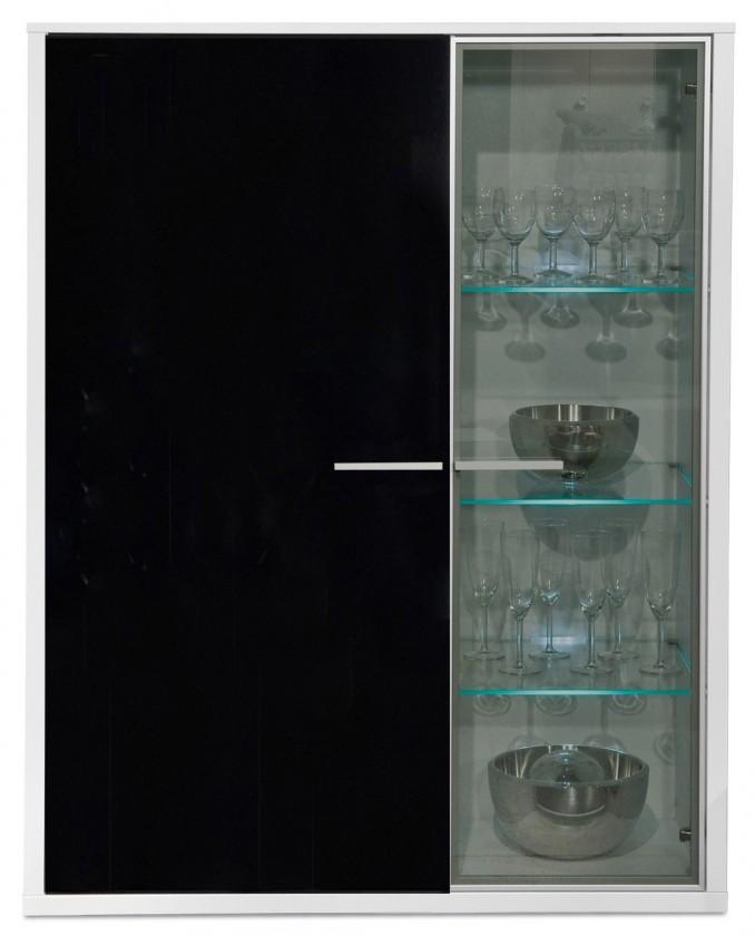 Komoda Game - komoda, 103 cm (bílá/sklo černé)