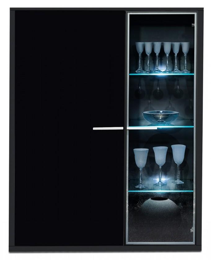 Komoda Game - komoda, 103 cm (černá/sklo černé)