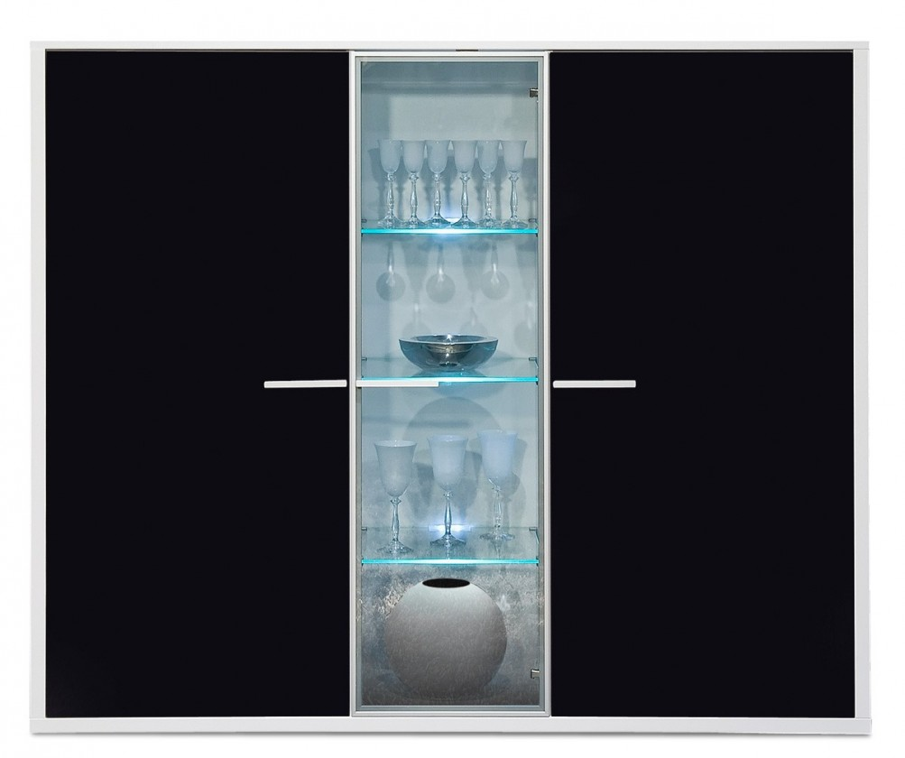 Komoda Game - komoda, 161 cm (bílá/sklo černé)