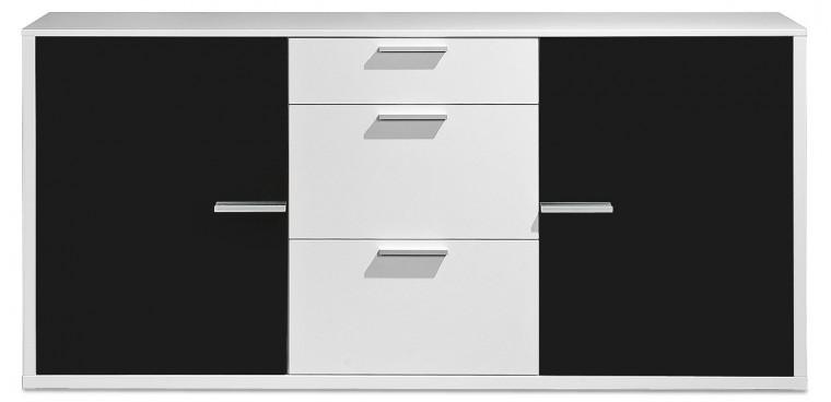 Komoda Game - komoda, 181 cm (bílá/sklo černé)