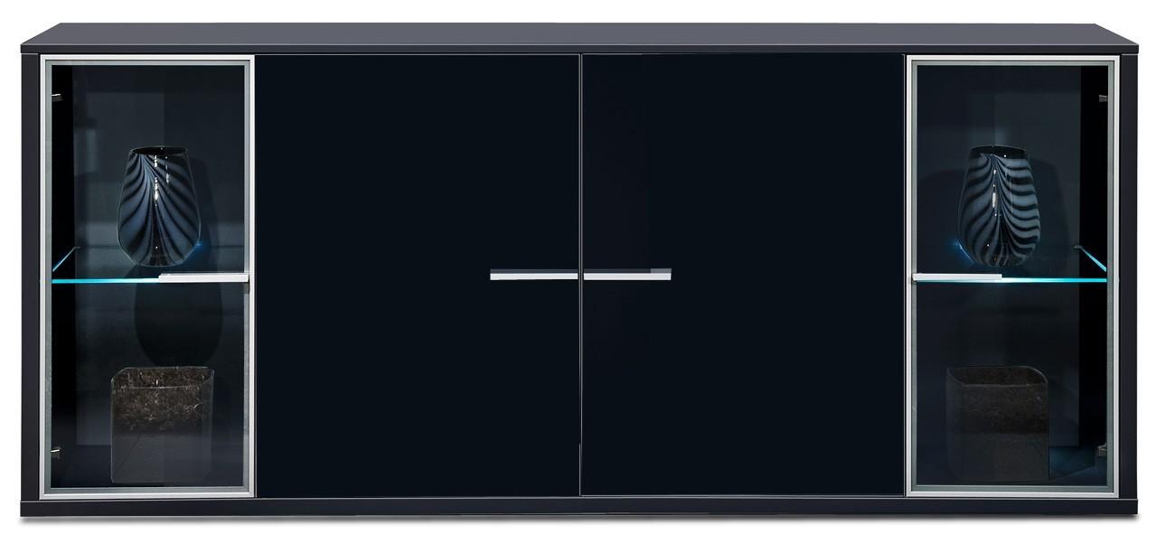 Komoda Game - komoda, 199,5 cm (černá/sklo černé)