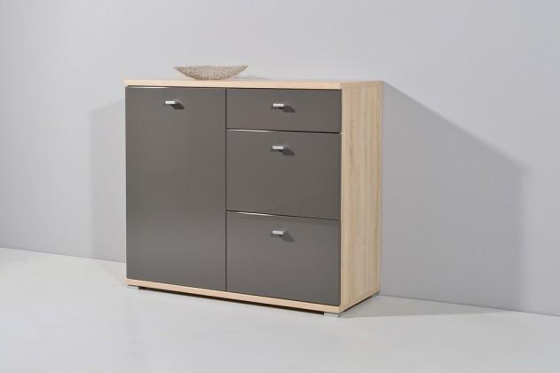 Komoda GW-Life - skříňka, 1x dveře, 3x zásuvka (dub sonoma/grafit)