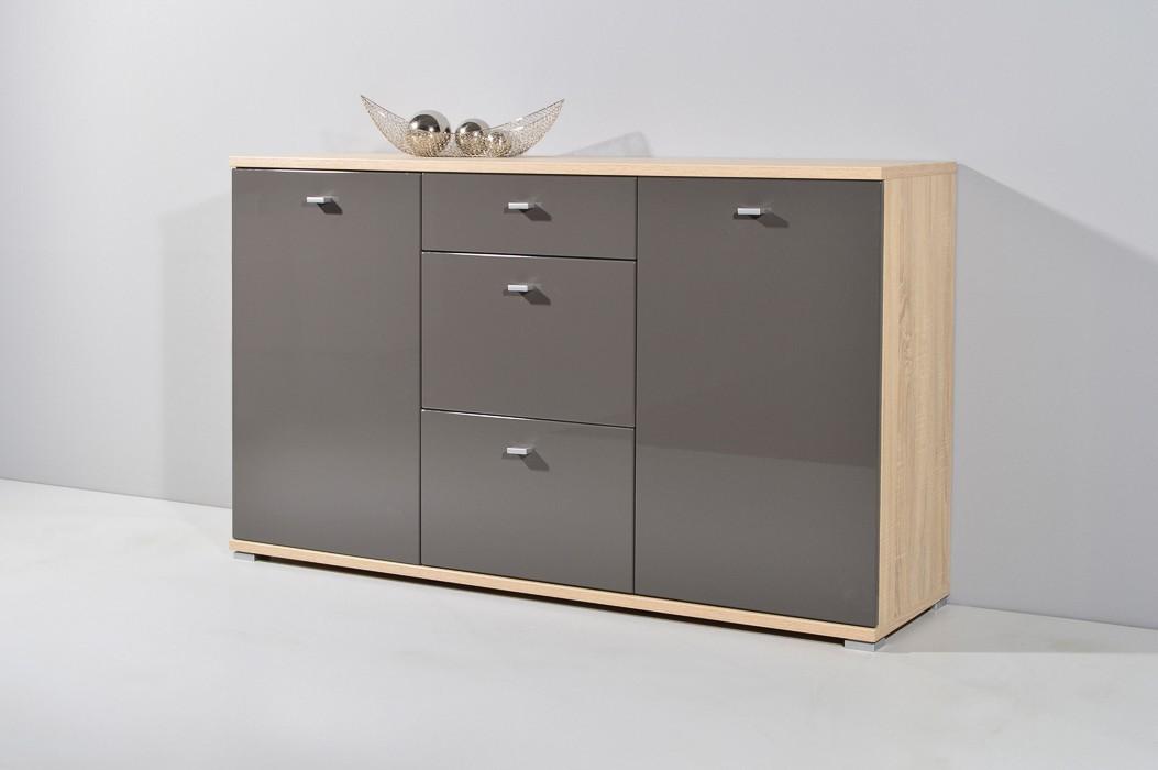 Komoda GW-Life - skříňka, 2x dveře, 3x zásuvka (dub sonoma/grafit)