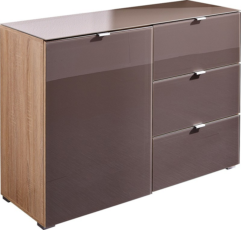Komoda GW-Perla-skříň,1xdveře,3xšuplík (dub sonoma-korpus/grafit-front)