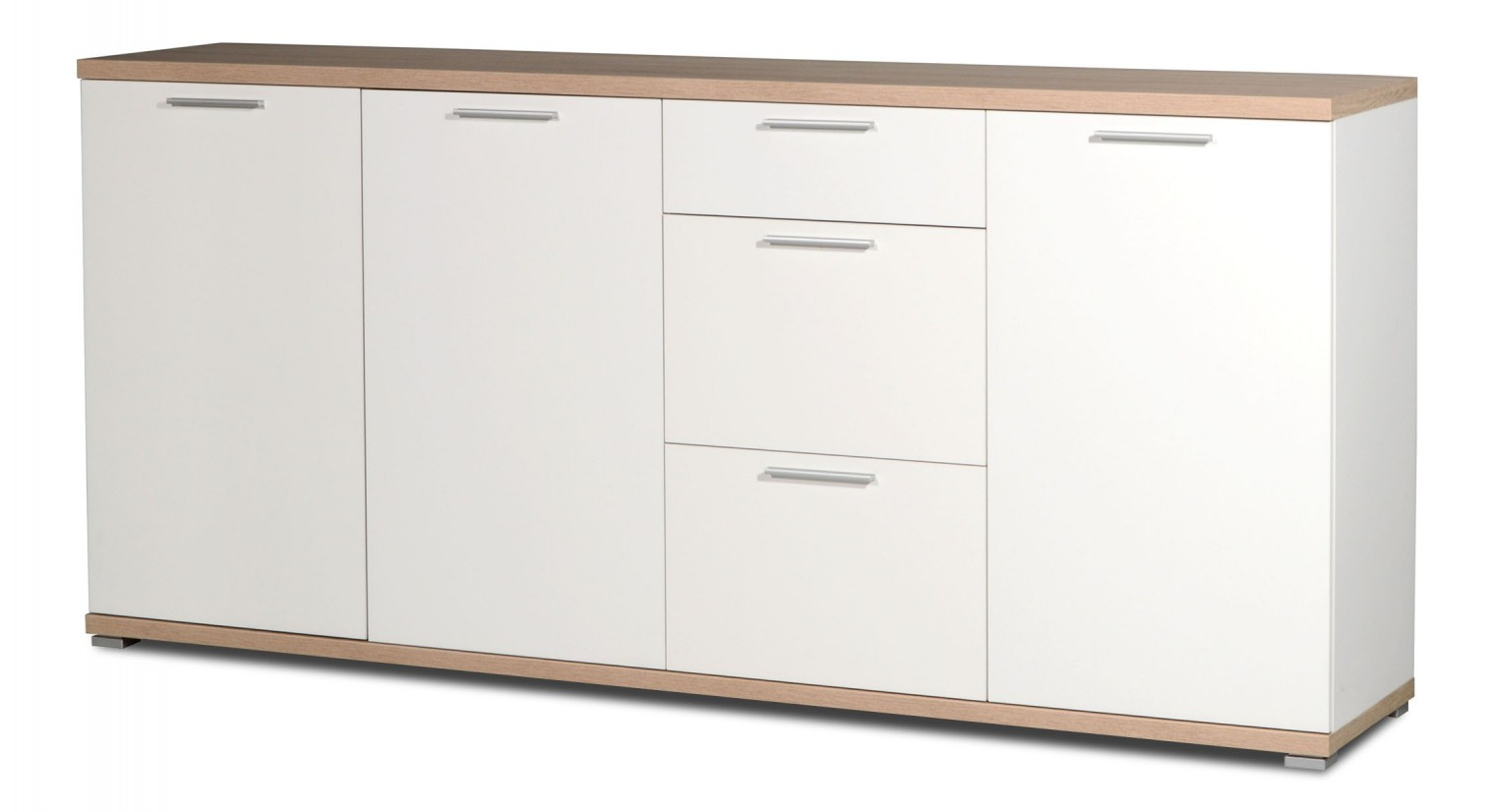Komoda GW-Top - Skříňka, 3x dveře (bílá / dub sonoma)