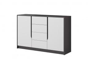Komoda Klaudia (4x zásuvka, 2x dveře, grafit, bílá)