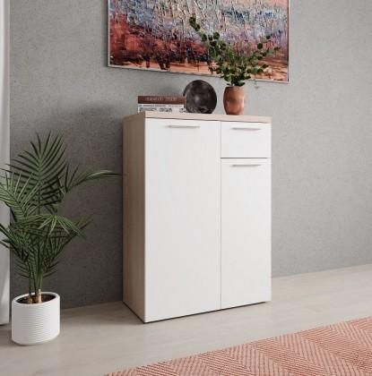 Komoda Komoda Artona (2x dveře, zásuvka, dub sonoma, bílá)