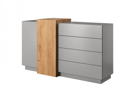 Komoda Komoda Duras (2x dveře, 4x zásuvka, lamino, šedá/hnědá)