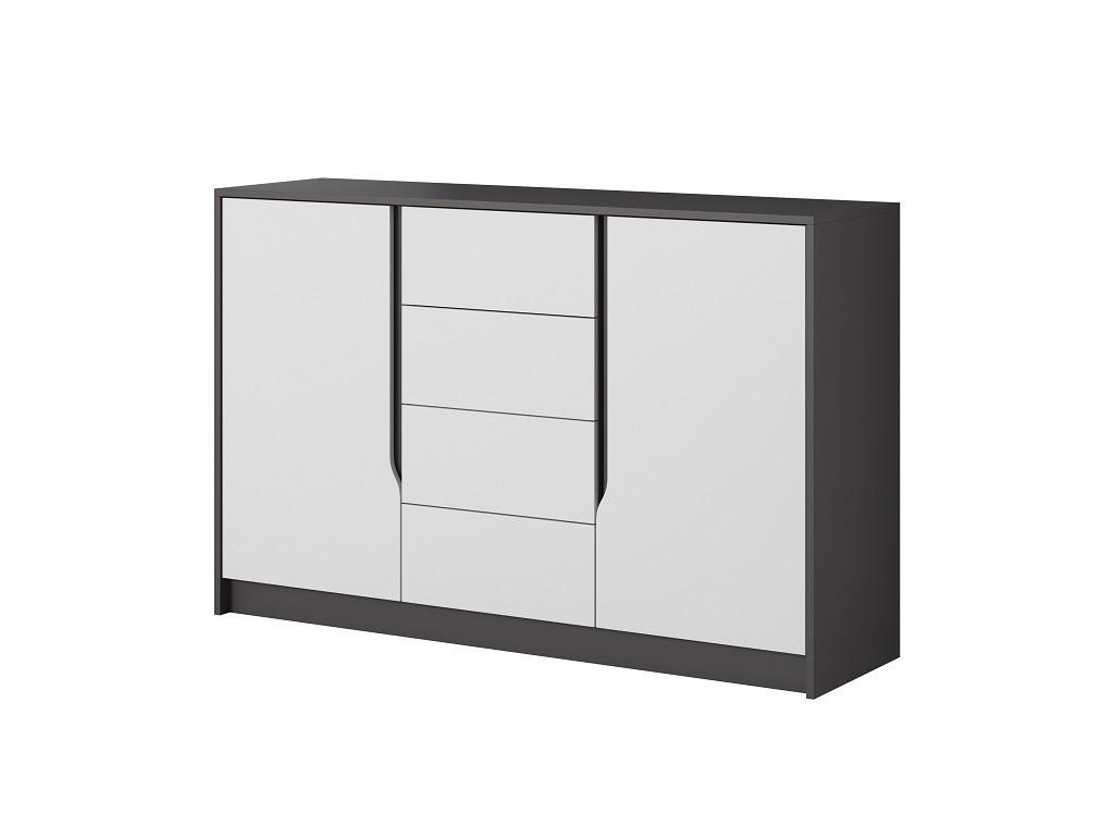 Komoda Komoda Klaudia (4x zásuvka, 2x dveře, grafit, bílá)