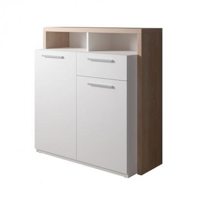 Komoda Komoda Segan (2x dveře, zásuvka, 2x police, dub sonoma, bílá)