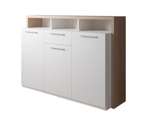 Komoda Komoda Segan (3x dveře, zásuvka, 3x police, dub sonoma, bílá)