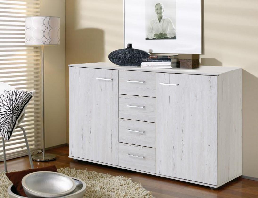 Komoda Komoda Susan (bílý dub, 2x dveře, 4x zásuvka)