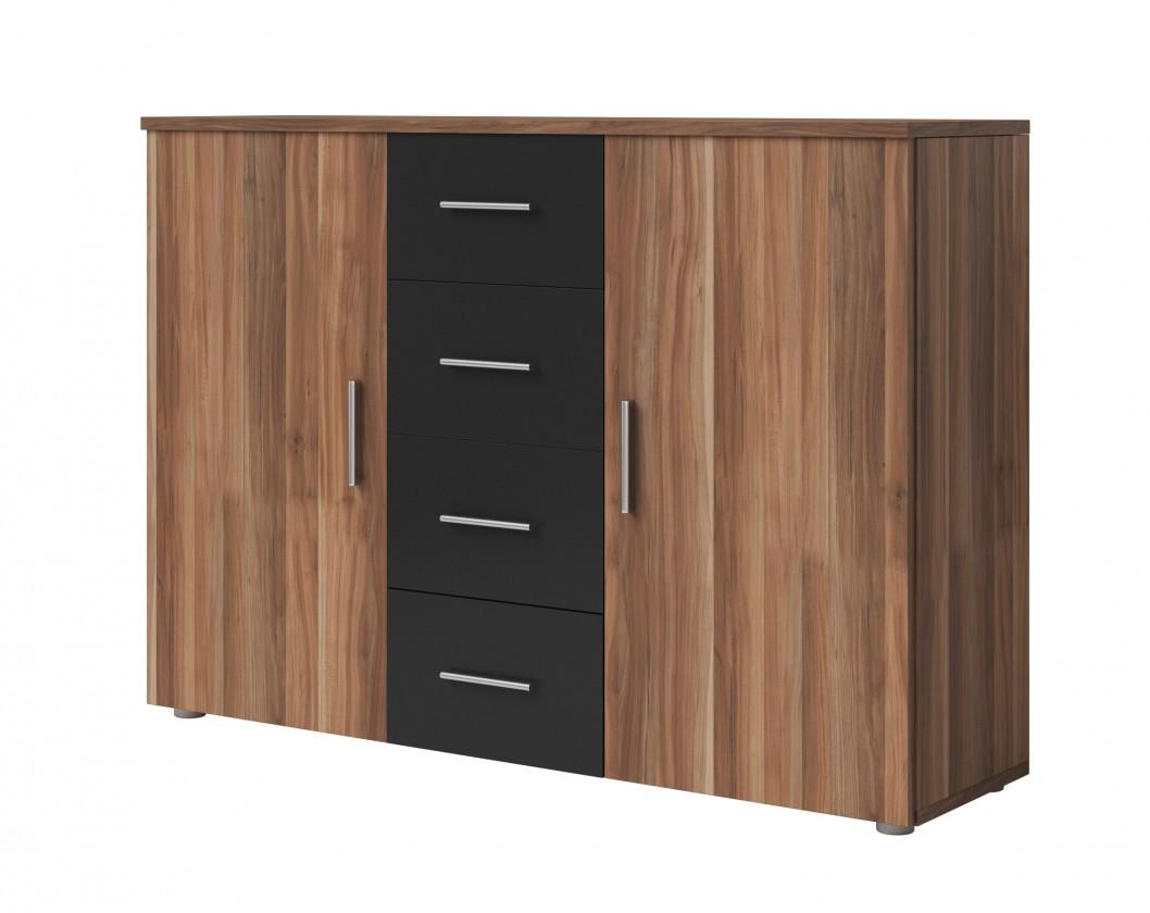 Komoda Komoda Vera - kombi, 2x dveře + 4x zásuvka, ořech