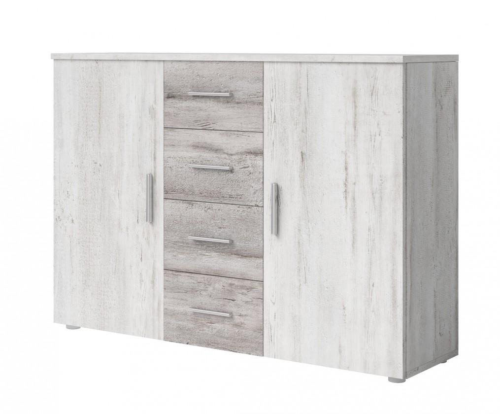 Komoda Komoda Vera - kombi, 2x dveře + 4x zásuvka, pinie