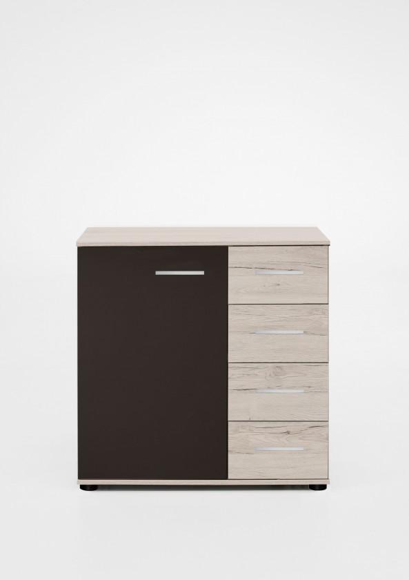 Komoda Madrid - Komoda, 4x šuplík, 1x dveře (dub bílý/lava černá)