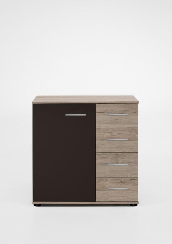 Komoda Madrid - Komoda, 4x šuplík, 1x dveře (dub san remo/lava černá)