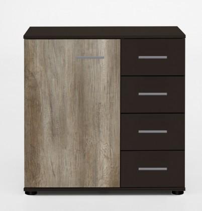 Komoda Madrid - Komoda, 4x šuplík, 1x dveře (lava černá/divoký dub)
