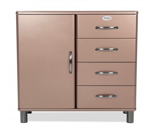 Komoda Malibu - Komoda (bronzová, 1x dveře, 4x zásuvka)