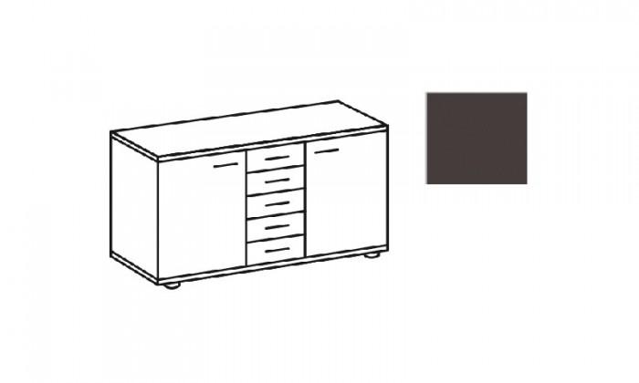 Komoda Match Up, 2x dveře, 5x zásuvka (Lava)