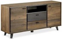Komoda Mety (2x zásuvka, 2x dveře, dřevo, hnědá)
