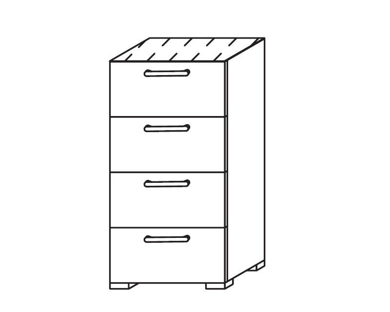 Komoda Onella - Komoda, 4x zásuvka