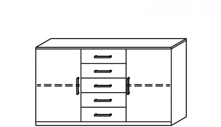 Komoda Quadra - komoda, 2x dvířka, 5x zásuvka