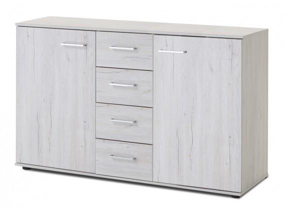 Komoda Sylt - Komoda, 4x zásuvka, 2x dveře (dub bílý, šedá)
