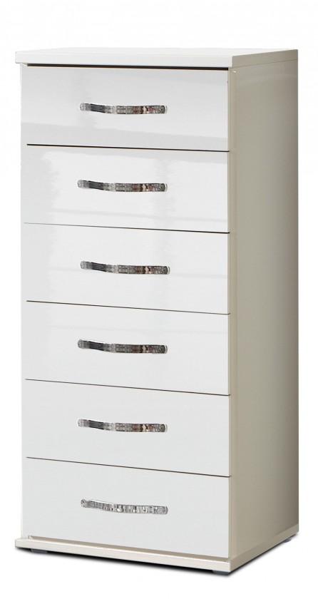 Komoda Trio - Komoda, 6x zásuvka (perleťová bílá/alpská bílá)