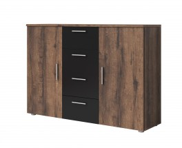 Komoda Vera - kombi, 2x dveře + 4x zásuvka, dub