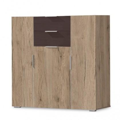 Komoda Viva - Komoda, 2x zásuvka, 3x dveře (dub san remo, lava černá)