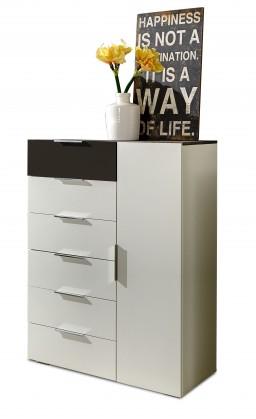 Komoda Viva - Komoda, 6x zásuvka, 1x dveře (alpská bílá, lava černá)
