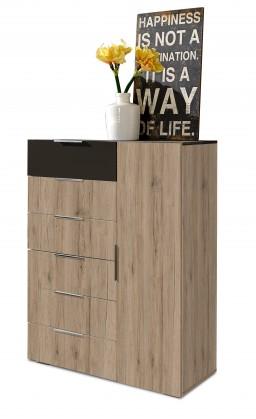 Komoda Viva - Komoda, 6x zásuvka, 1x dveře (dub san remo, lava černá)