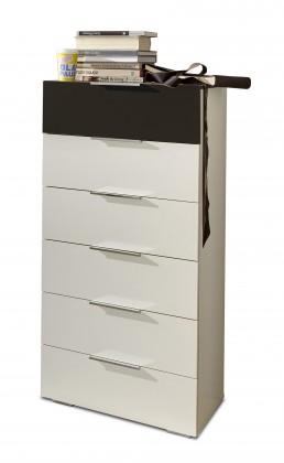 Komoda Viva - Komoda, 6x zásuvka (alpská bílá, lava černá)