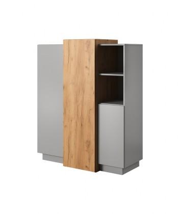 Komoda Vysoká komoda Duras (3x dveře, lamino, šedá/hnědá)