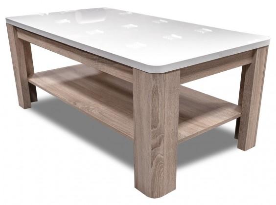 Konfereční stolek - dřevěný Attention-FLOT12(P50 - bílý / dub sonoma / bílý lesk)
