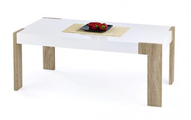 Konfereční stolek - dřevěný Cindy(bílá/ dub sonoma)