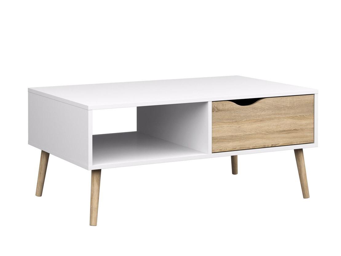 Konfereční stolek - dřevěný Delta - konferenční stolek (bílá/dub)