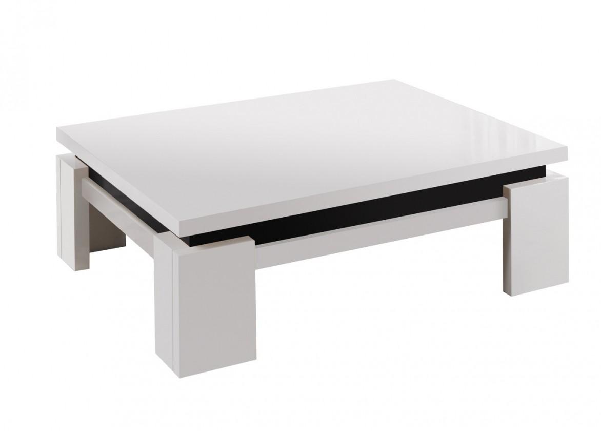 Konfereční stolek - dřevěný Diva - Konferenční stolek, 4x nožičky (bílá/černá)