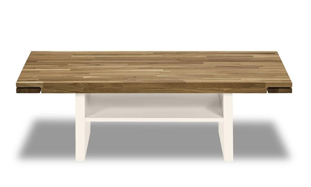 Konfereční stolek - dřevěný Feel - Konferenční stolek s dřevěnou deskou (dub/bílá)
