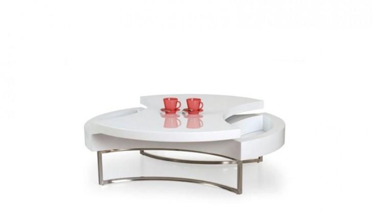 Konfereční stolek - dřevěný Konferenční stolek Aurea (Bílá/Chrom)