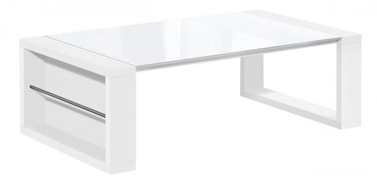Konfereční stolek - dřevěný Konferenční stolek Chase (bílá, sklo bílé)