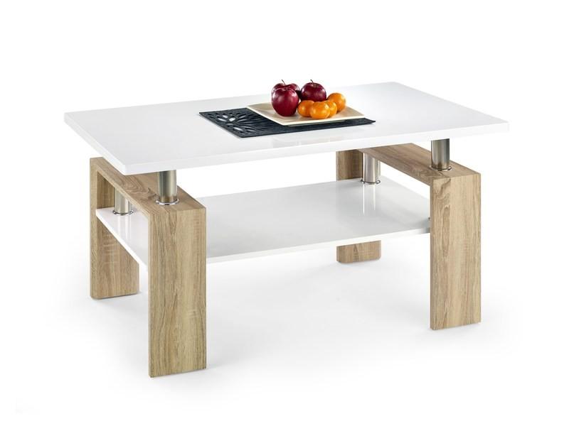 Konfereční stolek - dřevěný Konferenční stolek Diana (deska a police:bílá/nohy:dub sonoma)
