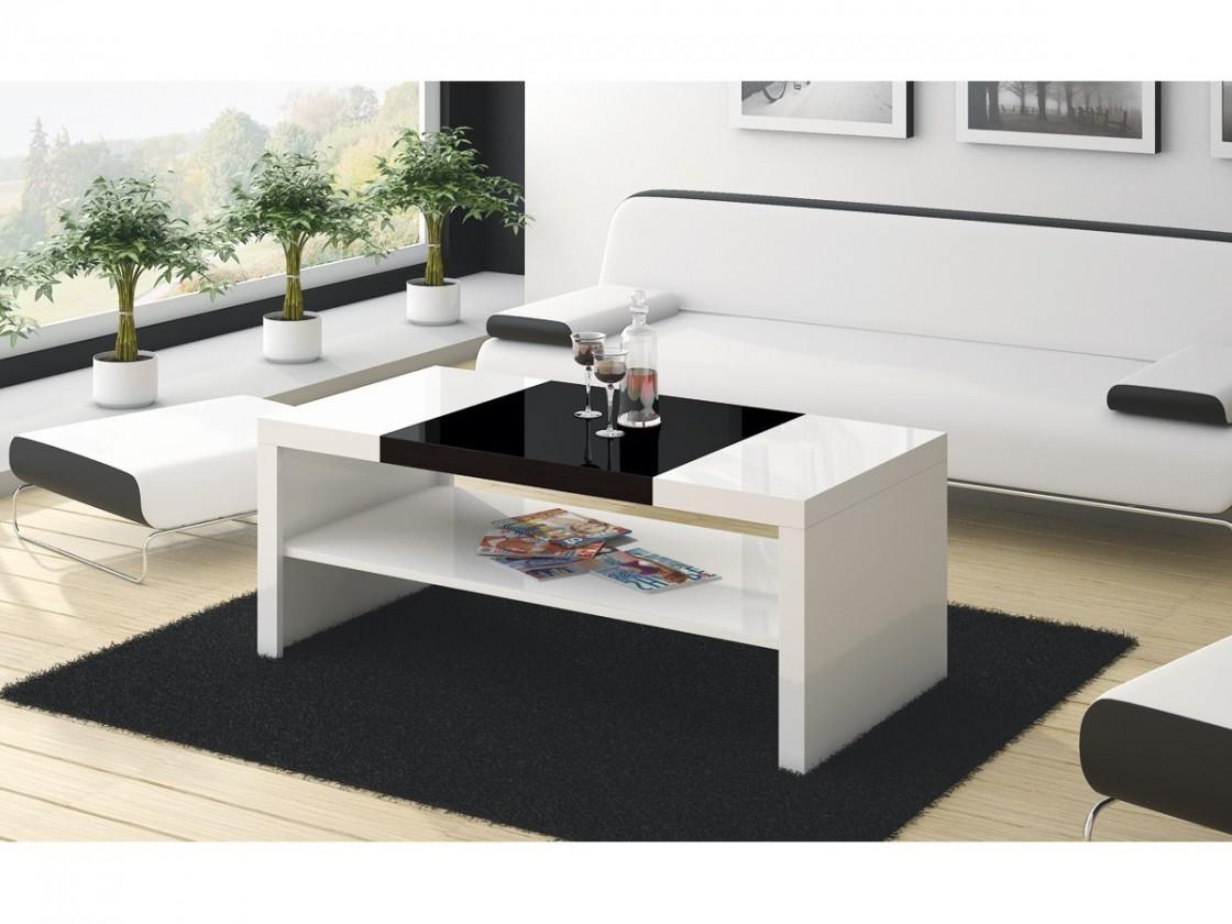 Konfereční stolek - dřevěný Konferenční stolek Duo (bílá lesk+černá lesk)